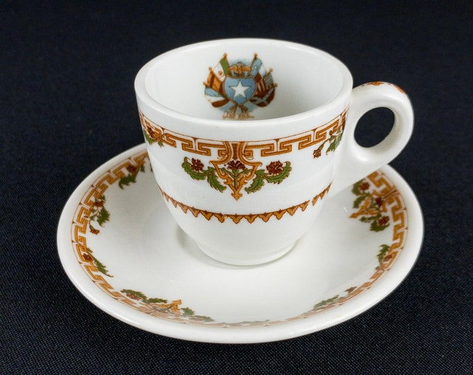 1950s Rice Hotel Houston Texas Demitasse Cup And Saucer Restaurant Ware By Shenango China
