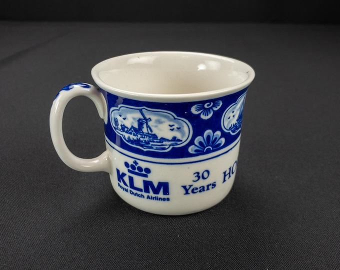 Delft KLM Royal Dutch Airlines Souvenir Cup 30 Years Houston - Europe 1957 - 1987 by Dutch American Import Company
