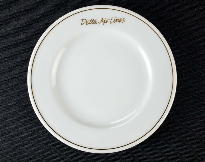 "1990s Delta Air Lines Signature White Pattern Domestic First Class 5 1/4"" Restaurant Ware Roll Plate or Saucer By Abco Tableware"