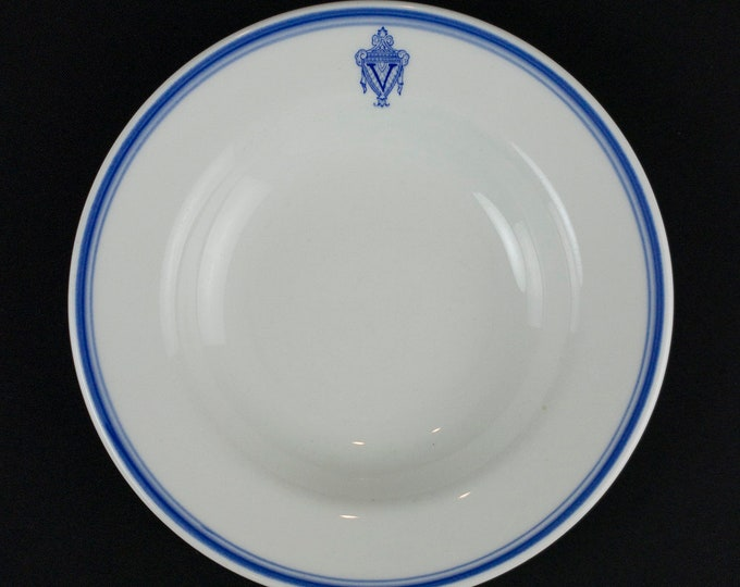 Manger Vanderbilt Hotel New York City Restaurant Ware Wide Rim Soup Bowl by Mayer China Circa 1951