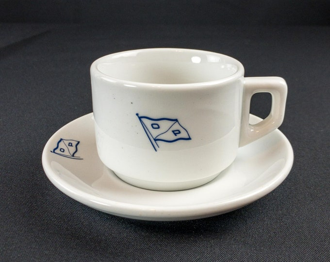 1960s Olaf Pedersen Oslo Norway Shipping Line Cup & Saucer By Mosa Maastricht