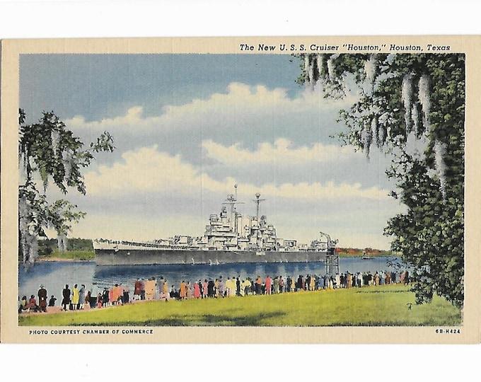 Linen Postcard The New USS Cruiser Houston, Houston, Texas Curt Teich coded 6B-H424 (1946) Unposted
