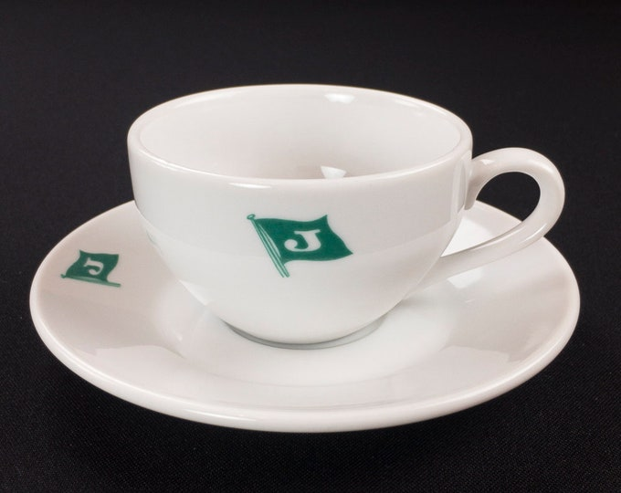 Japan Lines K.K. Tokyo Ship Maritime Restaurant Ware Cup and Saucer by Yamato China Circa 1980s