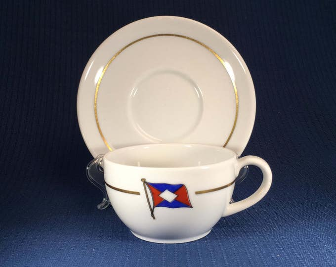 Ernest Komrowski Reederei Hamburg Shipping Steamship Lines Germany Cup and Saucer 1960s
