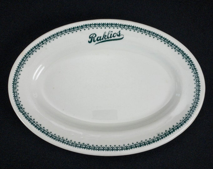 """1920-1930s Raklios Lunch Room Chicago 11-3/4"""" Oval Platter Restaurant Ware By Shenango China"""