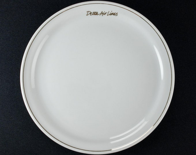 "1990s Delta Air Lines Signature White Pattern Domestic First Class 7 1/2"" Restaurant Ware Plate by Abco Trading"