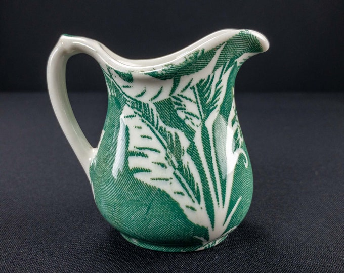 Vintage 1960s Small Restaurant Ware Creamer or Syrup Pitcher Green Shadowleaf Pattern By Wallace China Los Angeles California