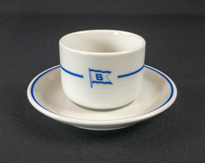 Butangen Shipping Company Norway Cup and Saucer Steamship Nautical Circa 1950s