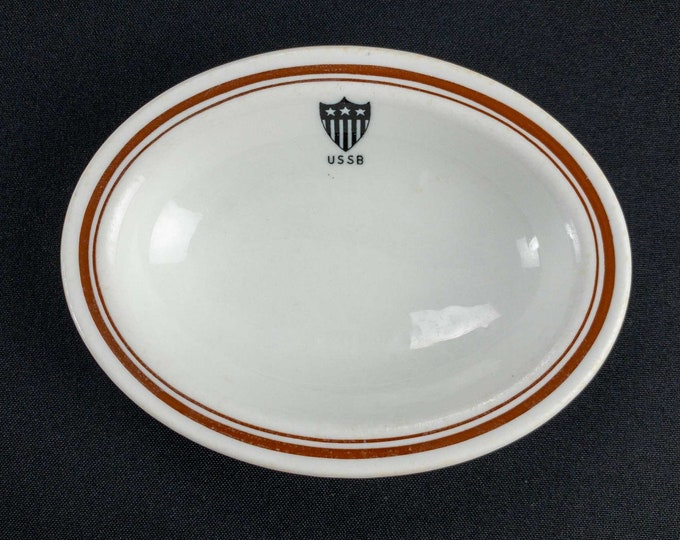 Vintage 1930s United States Shipping Board Restaurant Ware Steamship Small Oval Baker Bowl by Shenango China