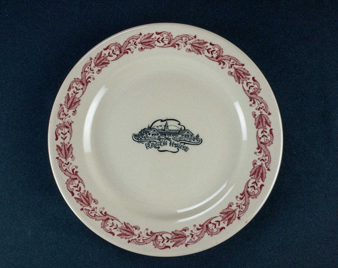 """Vintage 1950s Sterling China The Ranch House Johnston Rhode Island 9 1/8"""" Restaurant Ware Plate"""