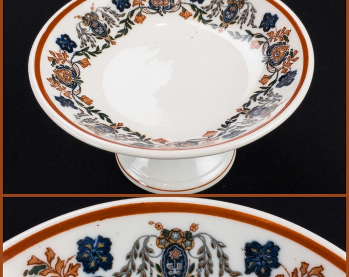 Small Floral Compote Comport Designed by Emil L. Schnepf for Scammel's Lamberton China Design Patent 69,159 dated Dec 29 1925