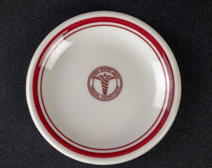 """WWII Era US Army Medical Department 3-5/8"""" Butter Pat Restaurant Ware 1940s No Backstamp"""