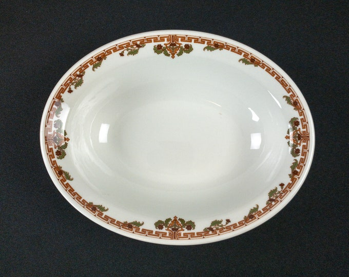 """Oval Vegetable Bowl Rice Pattern Restaurant Ware by Shenango China Circa 1930s-1948 1 7/8"""" H x 8 1/4"""" W x 6 1/2"""" D"""