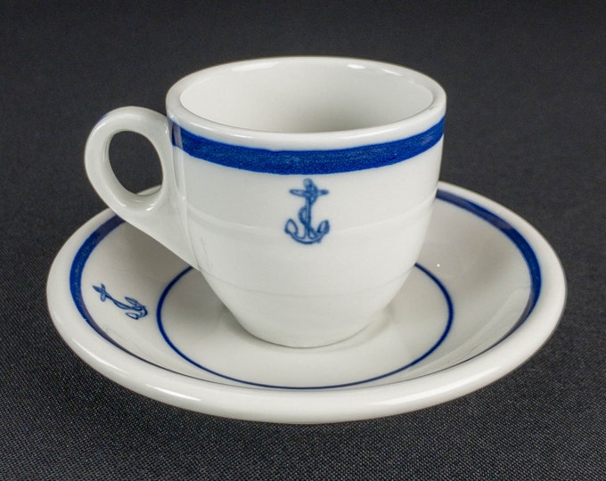 1960s Vietnam Era US Navy Cobalt Blue Fouled Anchor Pattern Restaurant Ware Demitasse Cup And Saucer By Shenango China