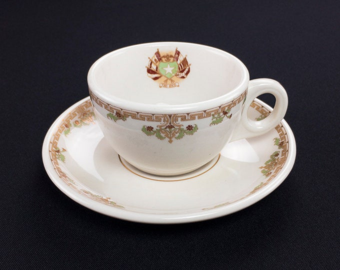 Rice Hotel Houston Texas Restaurant Ware Coffee Cup and Saucer by Lamberton Scammell Circa 1930s-40s