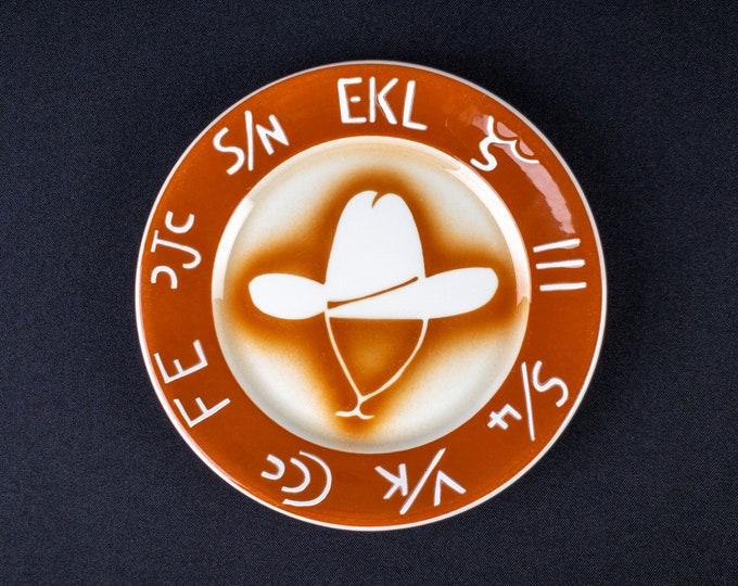 "Airbrush Orange Western Hat & Brand Pattern 6-7/8"" Side Plate Restaurant Ware By Jackson China 1966"