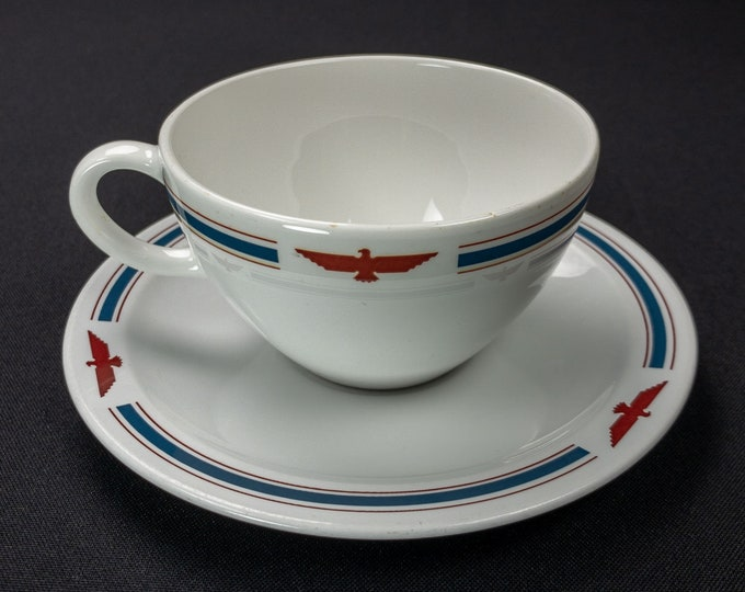American President Lines Pyroceram Restaurant Ware Cup And Saucer By Corning Circa 1960s-70s
