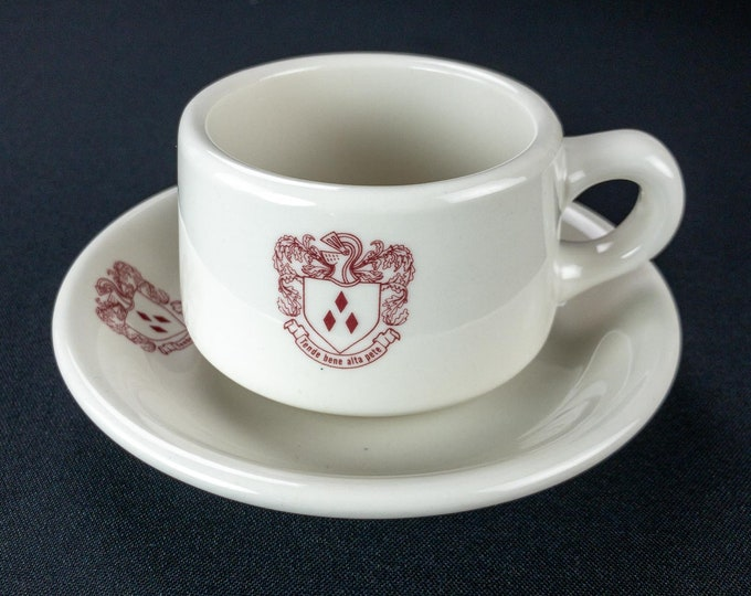 Vintage 1974 Rice University Brown College Restaurant Ware Coffee Cup And Saucer
