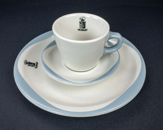Vintage 1940s Sigma Phi Epsilon ΣΦΕ Fraternity Restaurant Ware 3 piece Cup Saucer Plate Set Wallace China Los Angeles CA