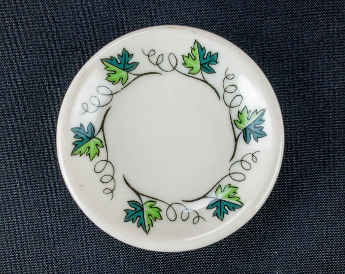 1960s Concord Pattern Green Grape Leaves Vines Restaurant Ware Butter Pat By Syracuse China