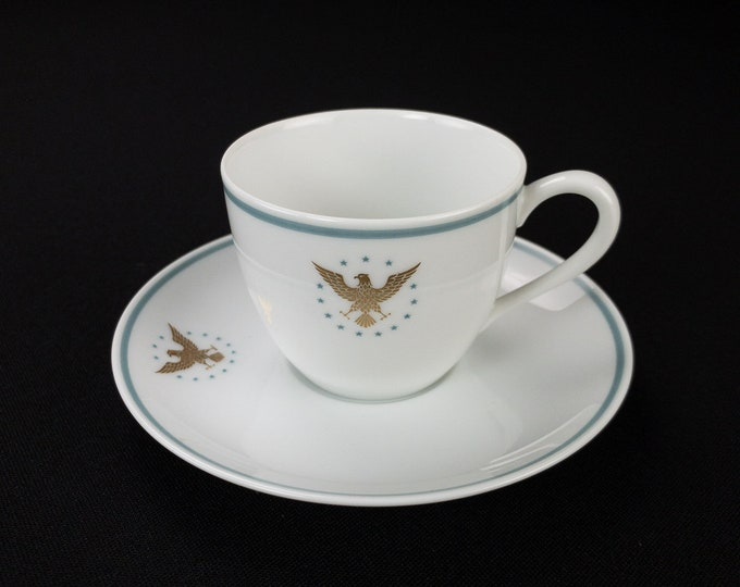 Pan Am Pan American Airways First Class Service Demitasse Cup and Saucer President Pattern Blue Band by Noritake Circa 1960s