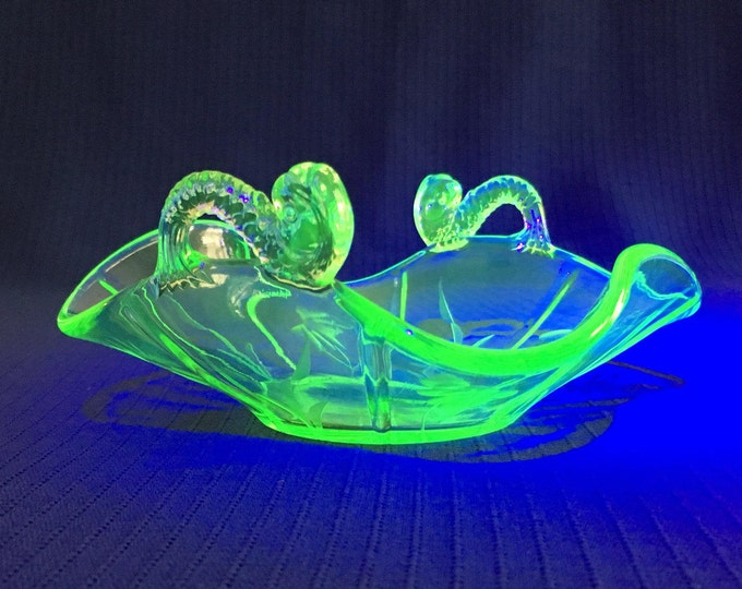 "Bonbon candy dish Green opalescent glass dolphin-handle with wheel-cut flowers 5-1/2"" square Fenton? 1920s?"