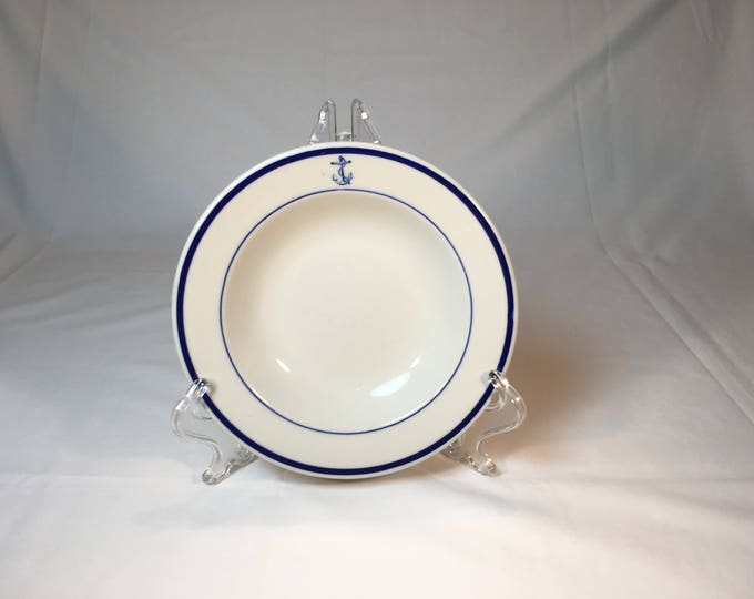 "USN US Navy Restaurant Ware Officer Mess Wardroom Bowl 1 1/4"" h x 6 7/8"" diameter by TEPCO Vitrified China Circa 1931-68"