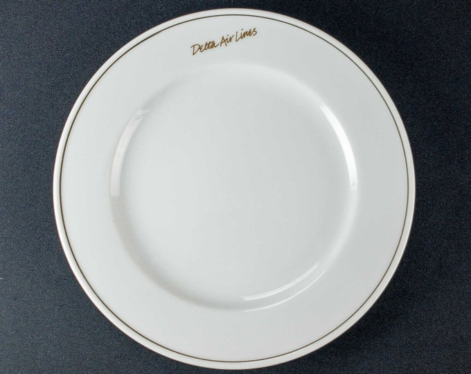 "1990s Delta Air Lines Signature White Pattern Domestic First Class 8"" Restaurant Ware Plate by Abco Tableware"