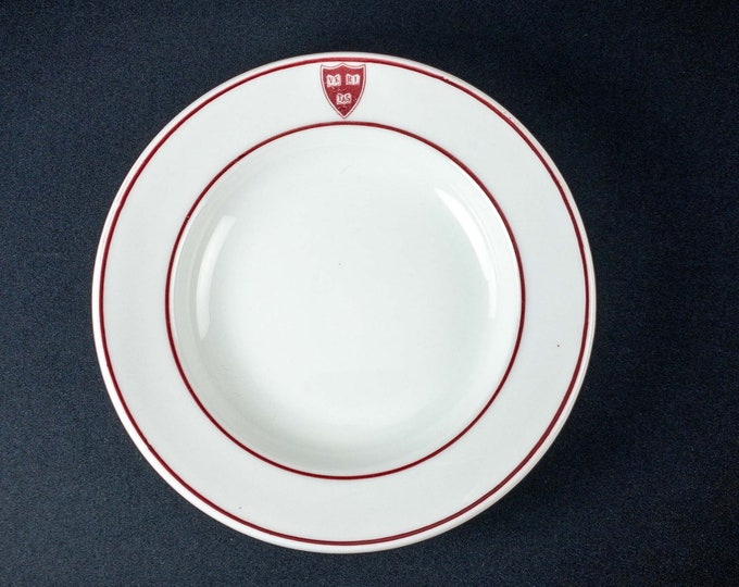 1920s Harvard University Cambridge Massachusetts Veritas 9 1/4 inch Heavy Restaurant Ware Bowl Shenango China