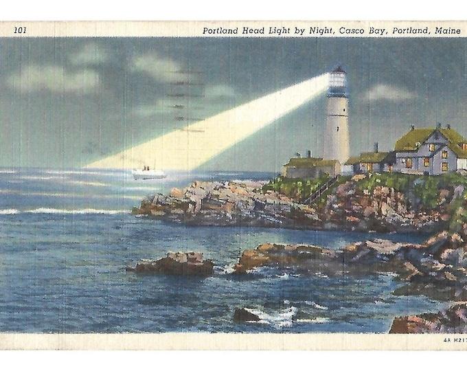 "Postcard 101 Portland Head Light by Night Casco Bay Maine 4A H2170 (1934) posted Sep 9 1946 Genuine Curteich-Chicago ""C.T. Art-Colortone""..."