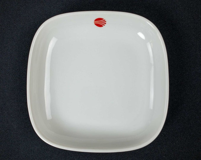 Vintage 1980s Continental Airlines Contrails Red Pattern China Restaurant Ware 6 x 6 Inch Square Casserole By Racket Japan