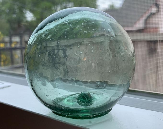 Round Hand Blown Glass Hokuyo Fishing Float Aqua Color 3 Inch Diameter
