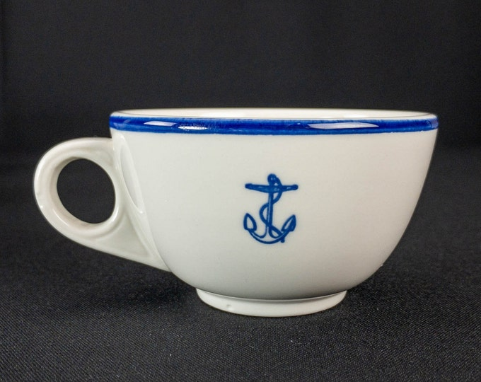 1960s Vietnam War Era USN US Navy Officer Mess Wardroom Cobalt Blue Fouled Anchor Restaurant Ware Cup by Homer Laughlin