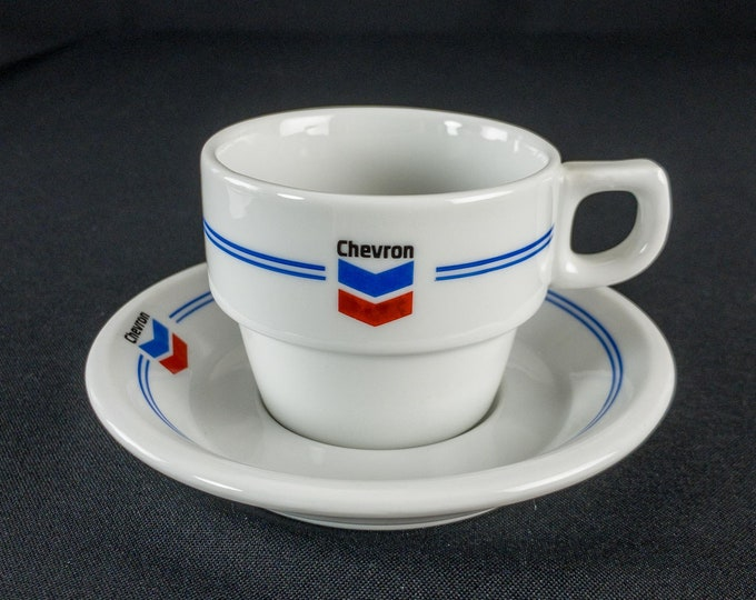 1970s Chevron Oil Company Tanker Petroliana Restaurant Ware Cup & Saucer By Mosa Maastricht Holland