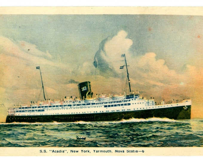"""Postcard of S.S. """"Acadia"""", New York, Yarmouth, Nova Scotia Posted Digby, Nova Scotia Oct 20 something 1932 2 Cent Stamp"""