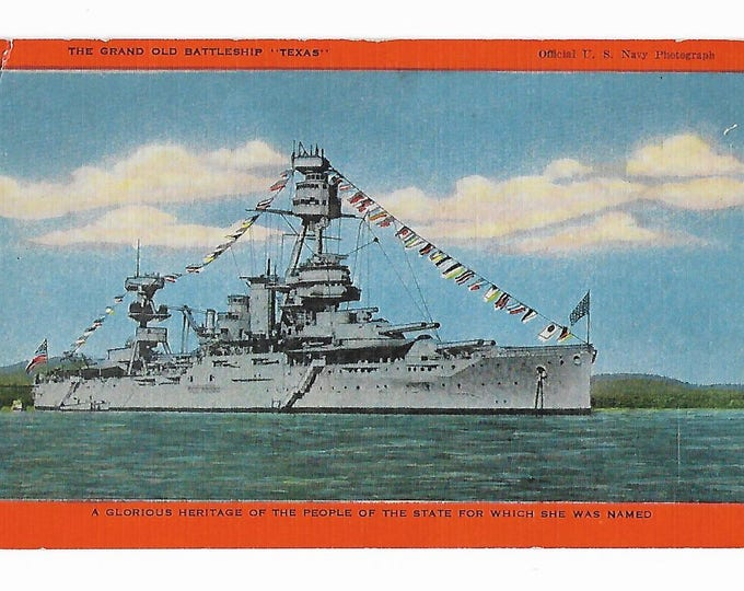 """Postcard The Grand Old Battleship """"Texas"""" (A glorious heritage of the people of the state for which she is named) Posted 1948"""