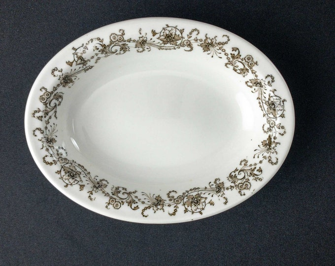 Antique 1900s Manhattan Pattern #123 Restaurant Ware Oval Bowl By Maddock Lamberton China