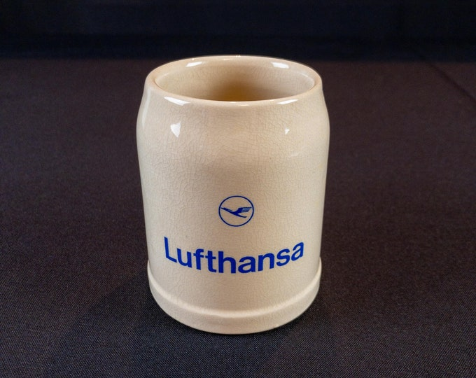 Lufthansa Beer Mug Stein Vintage 1980s Advertising Tan Blue Ceramic 0.3 Liter Germany Airline Collectible