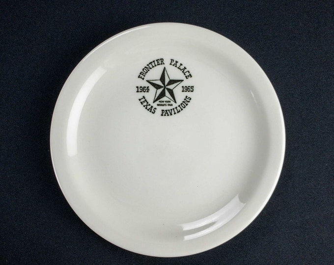 """Vintage 1960s Frontier Palace Texas Pavilions New York World's Fair 7 1/8"""" Restaurant Ware Side Plate by Buffalo China"""