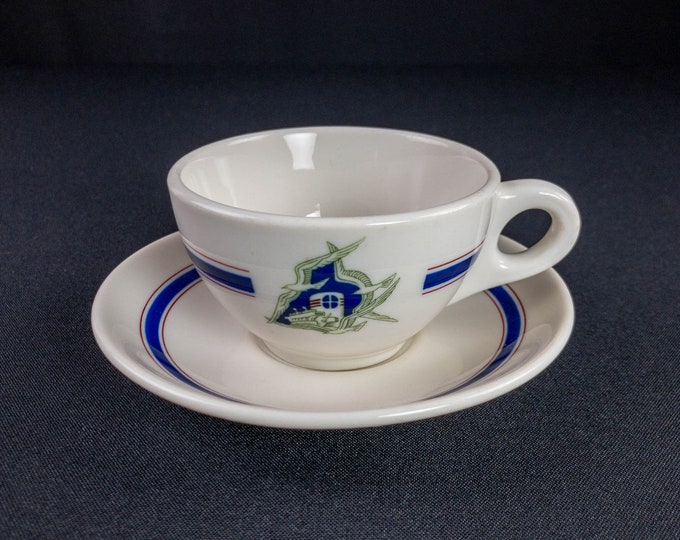 Alcoa Steamship Company Cup and Saucer Set Cavalier Pattern Restaurant Ware By Syracuse China