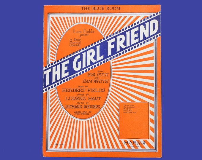 """Vintage Sheet Music  """"The Blue Room"""" from Broadway Musical The Girl Friend Circa 1926"""