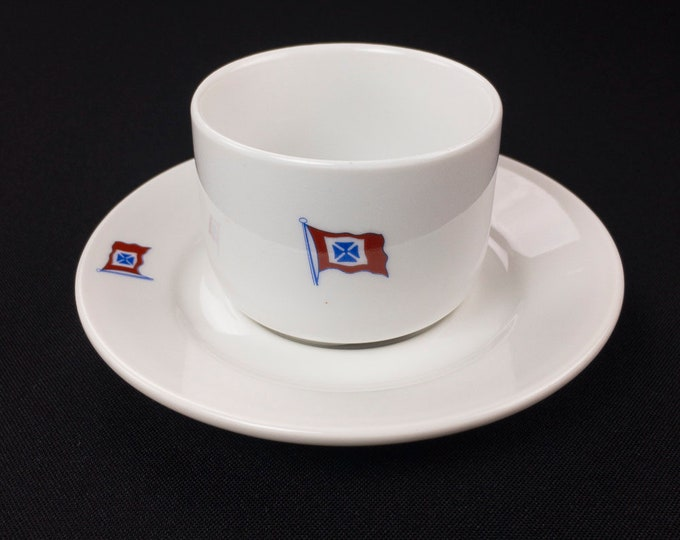 Fearnley & Eger Oslo Norway Shipping Steamship Cup and Saucer by Porsgrund Circa 1970s