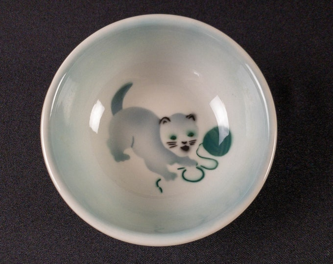 """Child's 5"""" Cereal Bowl Blue Green Shadowtone Airbrush Kitten Ball String Restaurant Ware By Syracuse China 1969"""