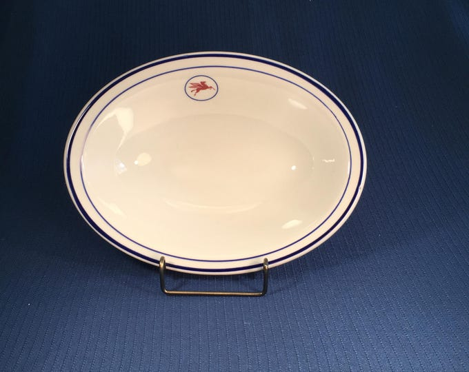 Mobil Oil Restaurant Ware Maritime Tanker Ship China Vegetable Serving Bowl Shenango 1970s