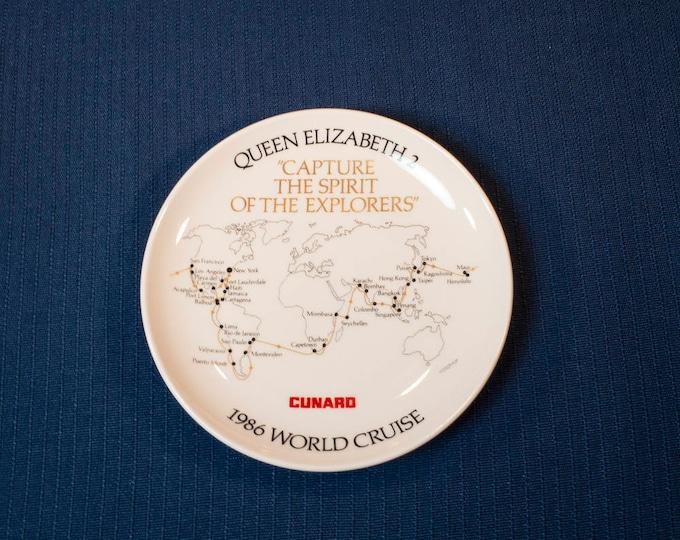 Souvenir Plate Cunard 1986 Queen Elizabeth 2 World Cruise Plate Capture The Spirit Of The Explorers