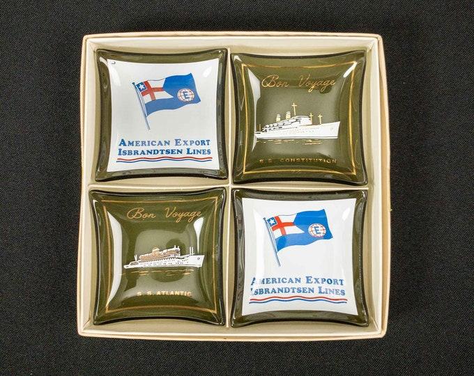 1960s Boxed Set Smoke Glass Mini Trinket or Ashtrays Souvenirs American Export Isbrandtsen Lines