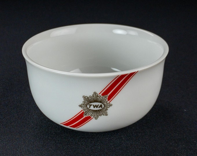 Vintage 1990s TWA Trans World Airlines Ambassador Pattern Restaurant Ware Bowl 44-1699 by CRI Contemporary Resources Inc Japan