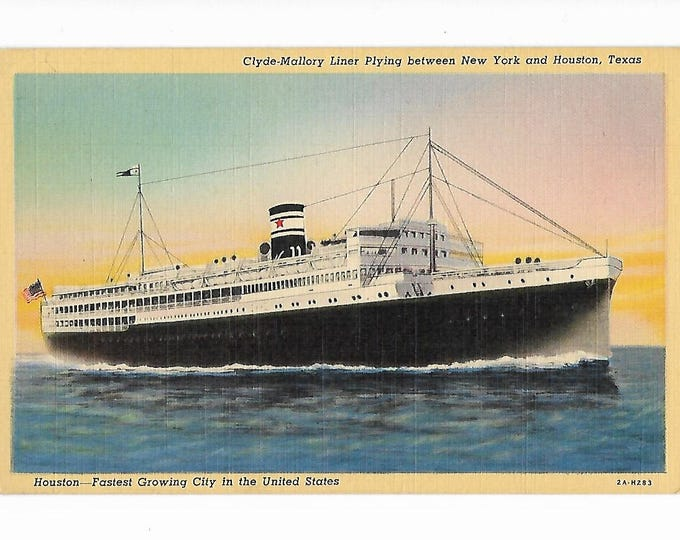 Linen Postcard Clyde Mallory Liner Plying between New York and Houston, Texas Posted 1942 coded 2A-H283