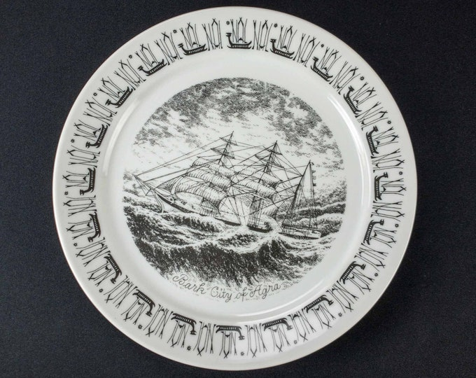 Vintage 1970s Norwegian American Line Porsgrund Norway Souvenir Restaurant Ware Plate 10.5 Inch Diameter