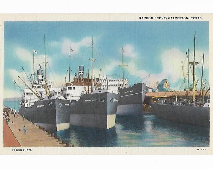 Linen Postcard Harbor Scene Galveston Texas Verkin Photo Curt Teich 4A-H77 (1934) Unposted